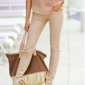 Bella Dahl Tan Leopard Print Cropped Skinny Animal